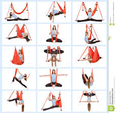 young woman doing anti gravity aerial yoga stock photo image