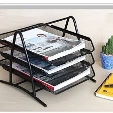 Office Desk Tray Diy Metal Mesh 3 Tier Document Tray Magazine Frame Paper Files