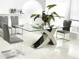 chrome clear glass dining table by casabianca home geneva sku