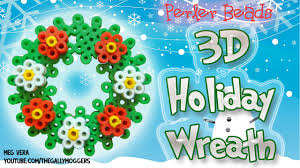perler bead tutorial 3d christmas or holiday wreath how to youtube