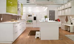 All White Kitchen Cabinets Funky White Kitchen Island On Fake Wood Floors Also White Gloss