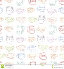 cute mugs and cups background stock vector image 70661785