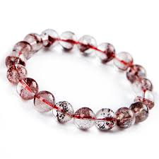 crystal quartz bracelet images Genuine natural red phantom quartz ash volcanic stone women jpg