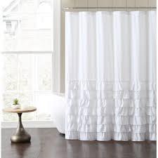 White Shower Curtain White Ruffled Shower Curtain Wayfair