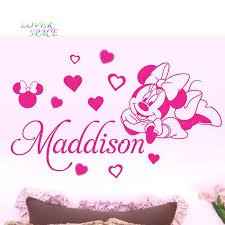 personalized name minnie mouse custom name wall sticker removable personalized name minnie mouse custom name wall sticker removable 3 designs walt mickey mouse wall stickers for kids rooms in wall stickers from home