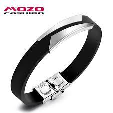 men rubber bracelet images Mozo fashion hot brand men bracelet stainless steel silicone jpg