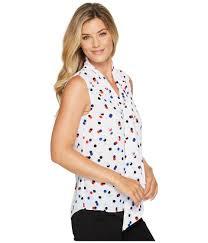sleeveless tie neck blouse blouses sku 8963254 sleeveless multi dot tie neck blouse