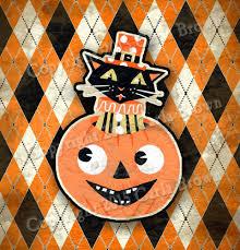 retro halloween cat jack o lantern clipart vintage style