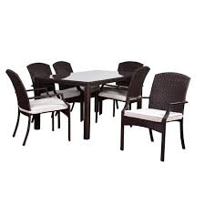 All Weather Wicker Patio Dining Sets by Atlantic Contemporary Lifestyle Luxemburg Brown 7 Piece Teak All