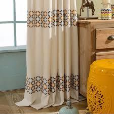 Geometric Orange Curtains Beige Geometric Modern Embroidery Curtains