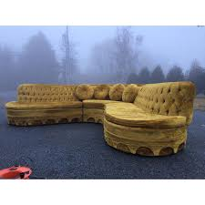 Gold Sectional Sofa Serpentine Tufted Gold Velvet Sectional Sofa Chairish