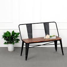 Bench Indoor Kitchen Metal Wood Dining Bench Indoor Outdoor Patio Garden Chair