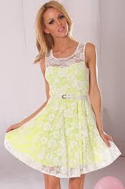 white neon yellow floral mesh lace dress cute casual dresses