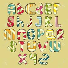 multicolored striped alphabet design in doodle style letters