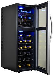Wine Cabinet With Cooler by Amazon Com Avalon Bay Ab Wine27ds 27 Bottle Dual Zone Wine Cooler