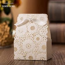 favor boxes for wedding 100 pcs free shipping white flower laser cut wedding favor