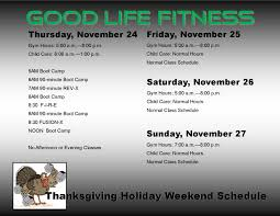 fitness thanksgiving schedule