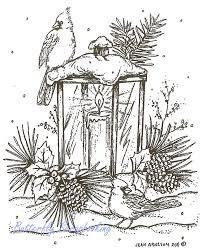 christmas lantern cardinal birds wood mounted rubber stamp