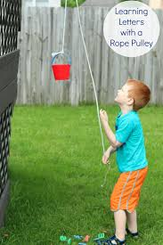 learning letters with a pulley alphabet activity