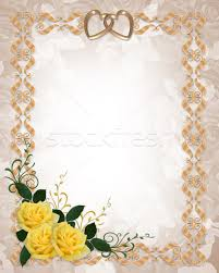 wedding invitation frame wedding invitation yellow roses gold border stock photo