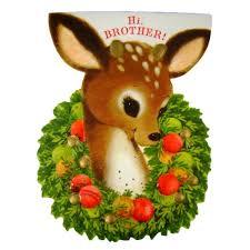die cut hallmark deer brother vintage christmas greeting card unused