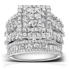 overstock wedding ring sets annello 14k white gold 2 4 5ct tdw diamond halo bridal ring set