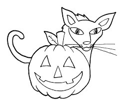 easy halloween cat and pumpkin coloring pages for kindergarten
