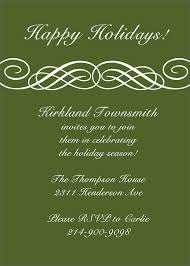 simple holiday party invitation card design with green background