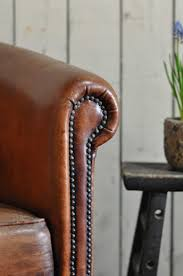 Leather Club Chair Vintage Worn French Leather Club Chair With Arms