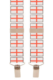 Flag White With Red Cross St George Cross Flag English White Red Trouser Braces Mens Suspenders