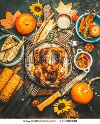 thanksgiving day food various grilled vegetables stock photo