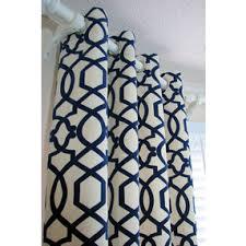 pair of decorative designer custom grommet curtains drapes navy