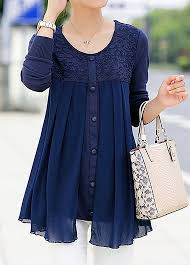navy blue blouse chiffon patchwork button embellished navy blue blouse rosewe com
