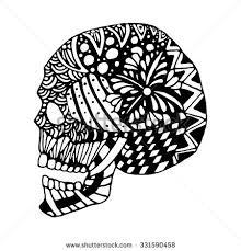 draw zentangle skull decoration cards stock vector 331590458