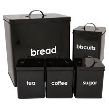 5 piece kitchen jars storage cannisters bread bin tea coffee sugar 5 piece kitchen jars storage cannisters bread bin tea coffee sugar biscuit set black amazon co uk kitchen home