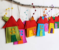 house ornament set of eight felt house decoration decoration