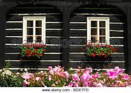 Tudor Style Windows Decorating Tudor Style Houses With Window Boxes Stock Photo Royalty Free