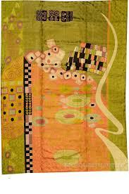 Modern Silk Rugs Klimt 5ft X 7ft Green Nouveau Silk Rug Wall Tapestry