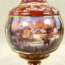 terry redlin hadley porcelain ornament trimming the tree