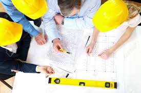 above view of architects planning a house project stock photo