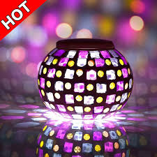 Colored Glass Table Lamps Senbowe Solar Powered Mosaic Glass Ball Led Garden Lights Color