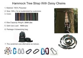 top quality adjustable camping tree friendly daisy chains hammock