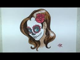 learn how to draw and color a pretty sugar skull part 2