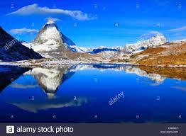 matterhorn refelcting in lake riffel riffelsee switzerland