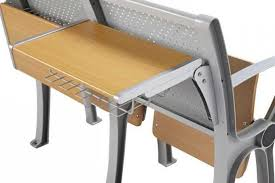 alloy folding seat desk and chair with writing pad