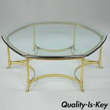 vintage glass table ls 2 vintage la barge hoof style brass glass side tables 1960 s