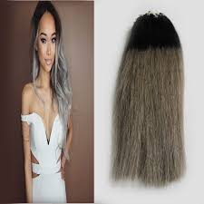 microbead extensions micro link hair extensions human 50s 7a two tone silver ombre
