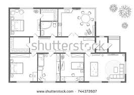 architectural plan house professional layout furniture stock