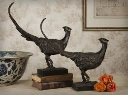 Downton Abbey Home Decor Pheasant Bronze Iron Sculpture Home Decor