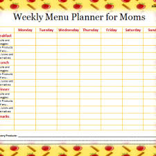 printable weekly menu planner blank weekly menu planner template